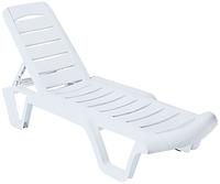 Пластиковый шезлонг лежак для пляжа  Бриз  белый