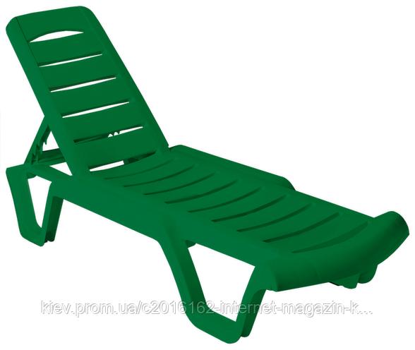 Пластиковый шезлонг для пляжа Бриз зеленый