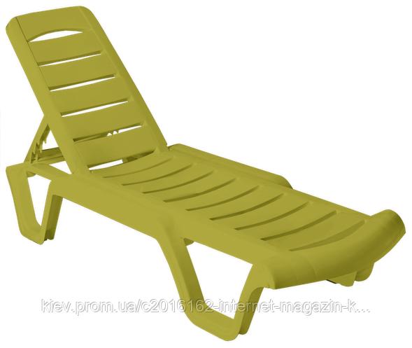 Пластиковый шезлонг для пляжа Бриз оливковый