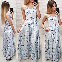 Летнее платье, сарафан в пол арт.162 принт фиолетовые цветы на белом фоне