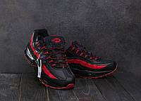 9ddbd540a Кроссовки A 1895 -16 (Nike AirMax 95) (зима, мужские, искусственная кожа,  черный-красный)