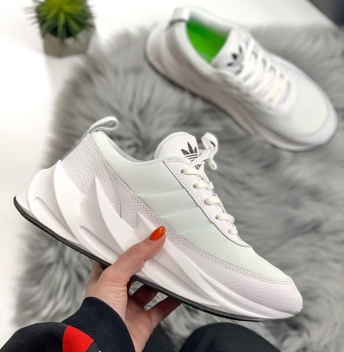 Женские кроссовки Adidas Shark Boost White. Живое фото. Реплика