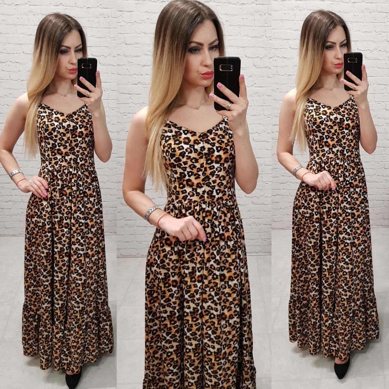 Летнее платье, сарафан в пол арт.162 принт леопардовый