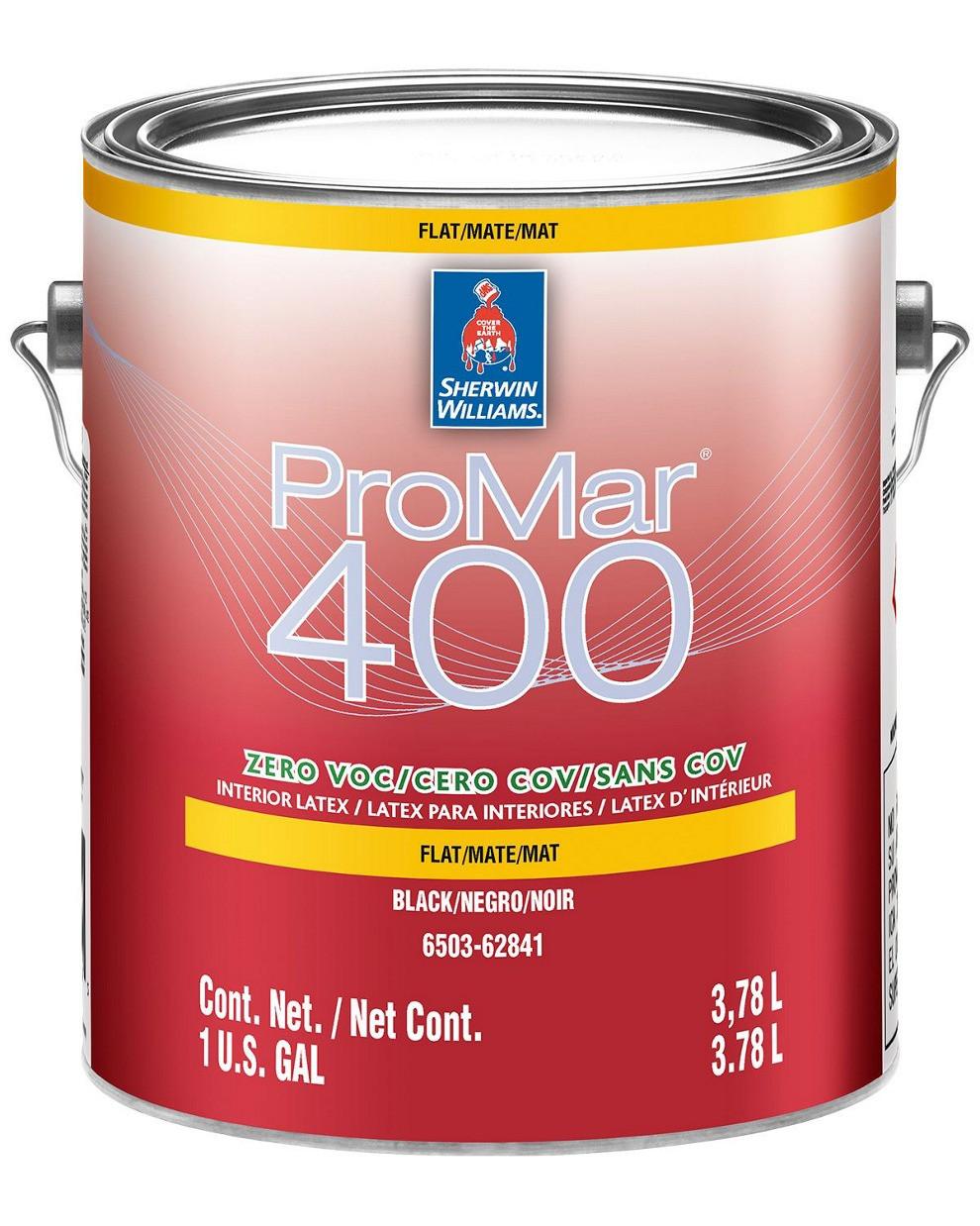 Краска ProMar 400 Flat Sherwin-Williams ЧЁРНАЯ интерьерная глубокоматовая, 3,78л