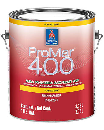 Краска ProMar 400 Flat Sherwin-Williams ЧЁРНАЯ интерьерная глубокоматовая, 3,78л, фото 2
