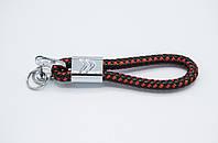 Брелок плетеный с логотипом Citroen плетеный берлок с логотипом ситроен для автомобилиста + карабин/Черно-красный