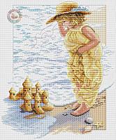 Набор для вышивания крестиком девочка на берегу моря. Размер: 23,8*28,8 см