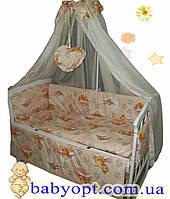 Постельное бельё в детскую кроватку Baby пчелки персик беж 8 эл. В подарок - подвеска сердечко