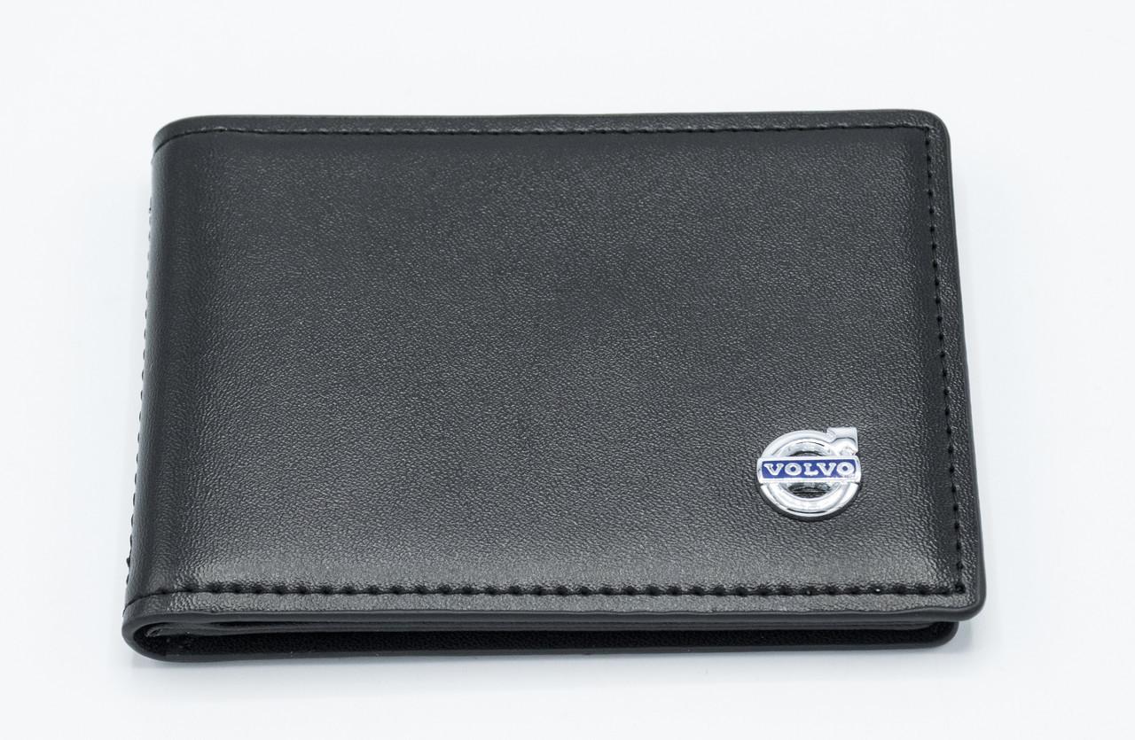 Кожаная обложка для прав Carrs с логотипом VOLVO Premium черная