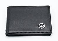 Кожаная обложка для прав Carrs с логотипом VOLKSWAGEN Premium черная