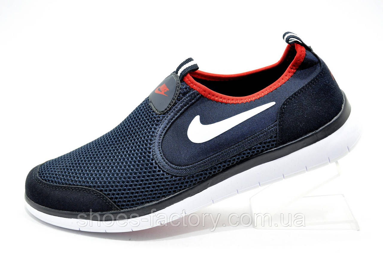 Летние мужские кроссовки в стиле Nike Free Run 3.0 Slip On, Dark Blue\Red
