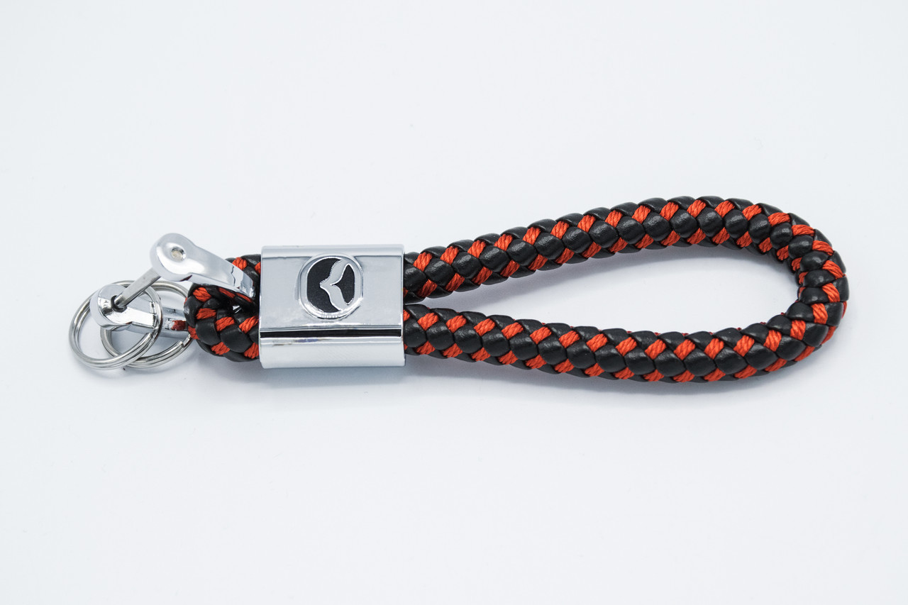 Брелок плетений з логотипом MAZDA плетений берлок з логотипом мазда для автомобіліста + карабін/чорно-червоний