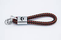 Брелок плетеный с логотипом MAZDA плетеный берлок с логотипом мазда для автомобилиста + карабин/черно-красный