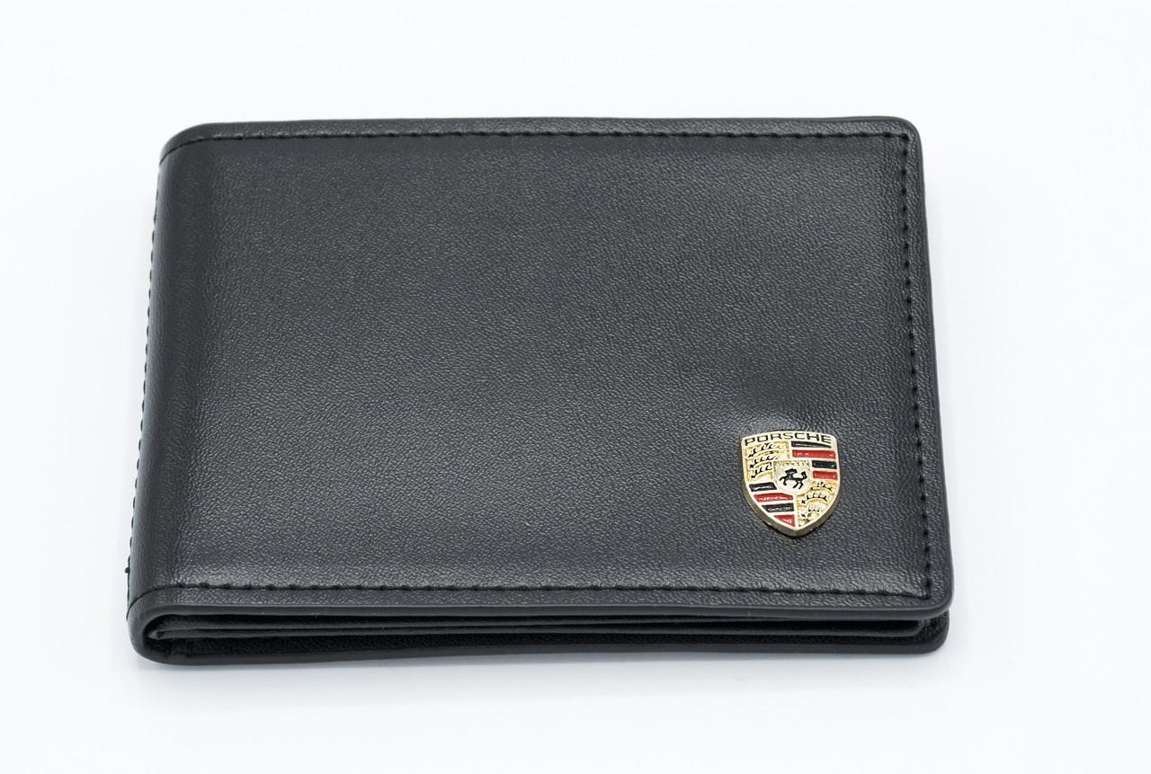 Кожаная обложка для прав Carrs с логотипом PORSCHE Premium черная