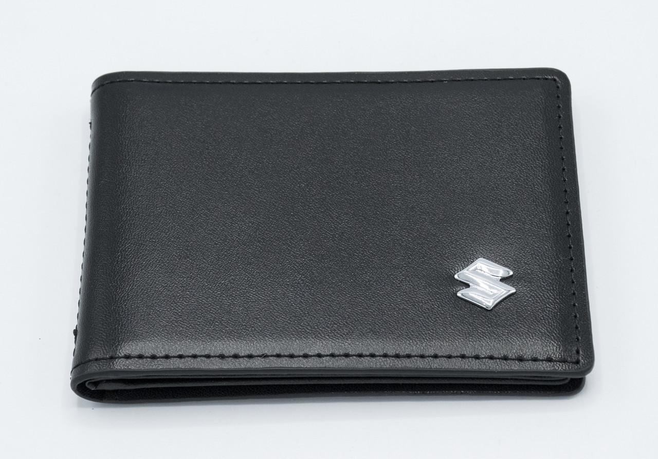 Кожаная обложка для прав Carrs с логотипом SUZUKI Premium черная