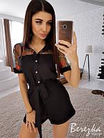 Женский комбинезон-шорты с кружевными вставками