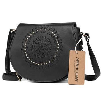 Модная женская сумка. Сумка женская с тиснением и заклепками (черная)