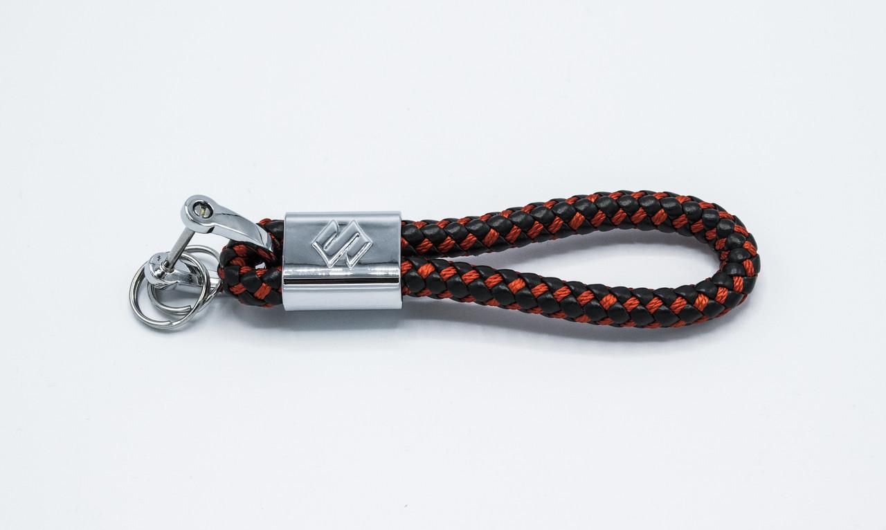 Брелок плетеный с логотипом SUZUKI плетеный берлок с логотипом сузуки для автомобилиста + карабин/черно-красный