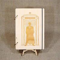 Скетчбук Доктор Кто. Блокнот с деревянной обложкой Doctor Who.