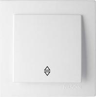 Выключатель одноклавишный проходной Nilson Touran - белый