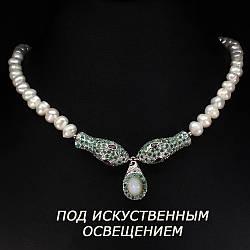 Серебряное ожерелье с натуральными Изумрудами Жемчугом и Опалом