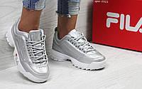 Женские кроссовки в стиле Fila, серебристые 38 (24,5 см)