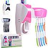 Диспенсер дозатор для зубной пасты и щеток автоматический ZGT SKY РОЗОВЫЙ, фото 6