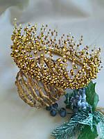 Шикарная хрустальная диадема из бусин, свадебная корона для невесты золотого цвета