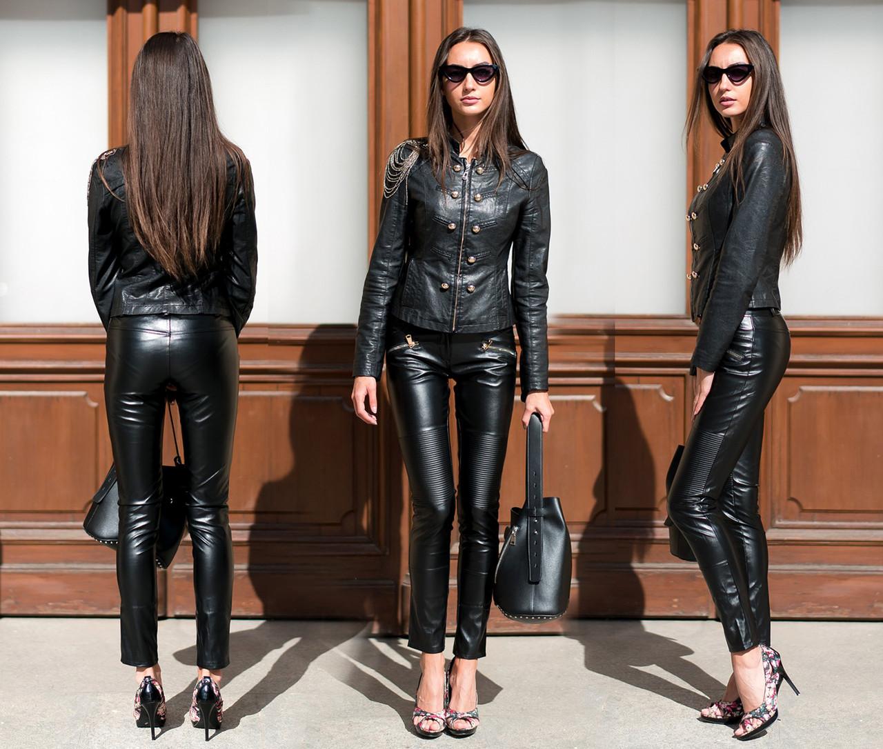 """Женские стильные брюки-леггинсы 433 """"Кожа Кармашки Змейки"""""""