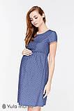 Платье для беременных и кормящих CELENA, джинсово-синее в горох, фото 3