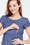 Платье для беременных и кормящих CELENA, джинсово-синее в горох, фото 4