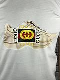 Гарна Чоловіча Футболка Gucci біла 100% Бавовна Туреччина Трендова Стильна Гуччі копія, фото 3