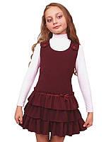 Сарафан школьный для девочки М-918 рост 116-146 бордовый, фото 1