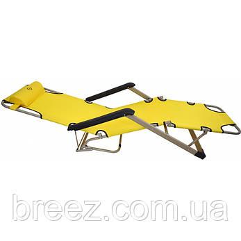 Шезлонг лежак 180 см желтый, фото 2