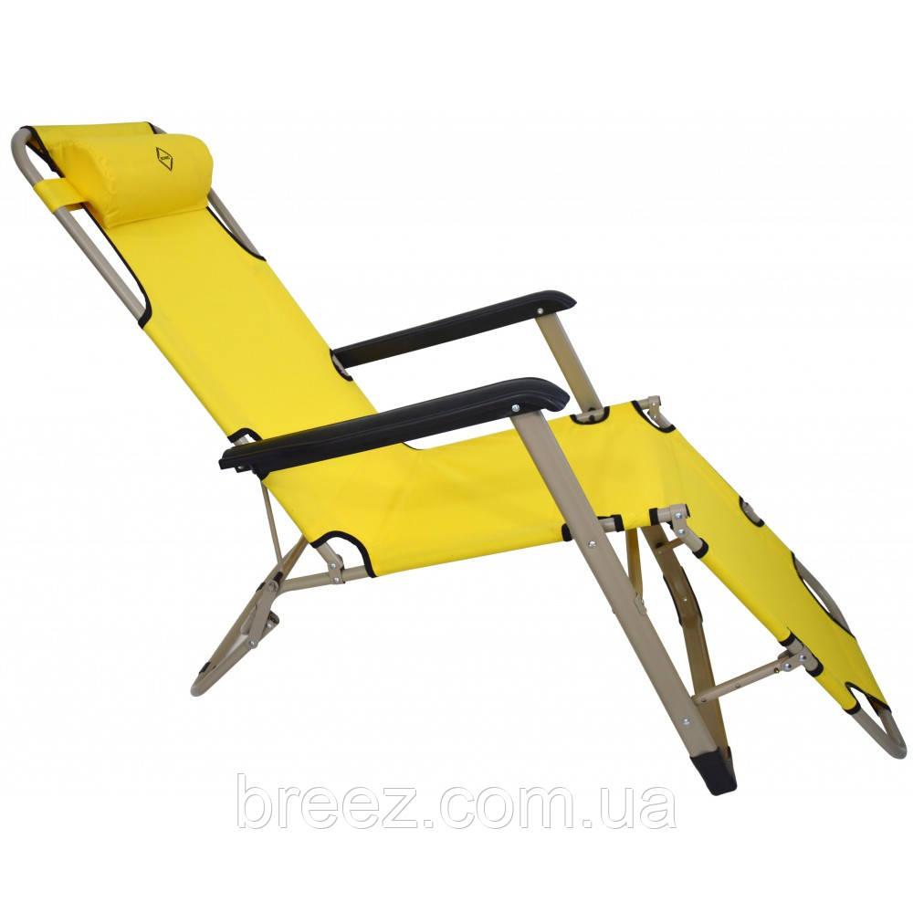 Шезлонг лежак 180 см желтый