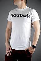 Футболка мужская летняя Reebok, цвет белый (черное лого), фото 1