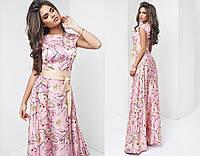 Шикарное длинное шелковое платье макси в цветочный принт нежно-розовое