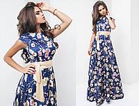Шикарное длинное шелковое платье макси в цветочный принт синее