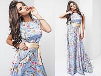 Шикарное длинное шелковое платье макси в цветочный принт нежно-голубое