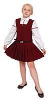 """Сарафан школьный для девочки М-665   рост 110 бордовый тм """"Попелюшка"""", фото 1"""