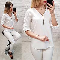 Стильная женская блузка! Цвет: белый,  0158