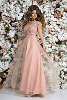 Вечернее выпускное платье в пол гипюр + габардин + сетка