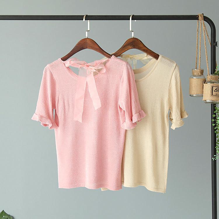 Нежная люрексовая блузка с бантом (в расцветках)