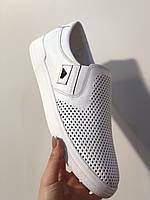 Туфли мокасины слипоны белые мужские летние кожаные 40 -45 р-р, фото 1
