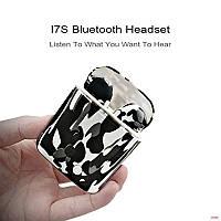 Беспроводные Bluetooth наушники HBQ I7S TWS с кейсом камуфляж черно-белые