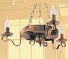 Деревянная люстра Колесо Кольцо состаренное темное на 3 лампы, фото 2