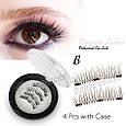 Магнитные ресницы, Magnet Lashes Professional Eye Lash 3 магнита, 3D эфект круглый футляр, фото 5