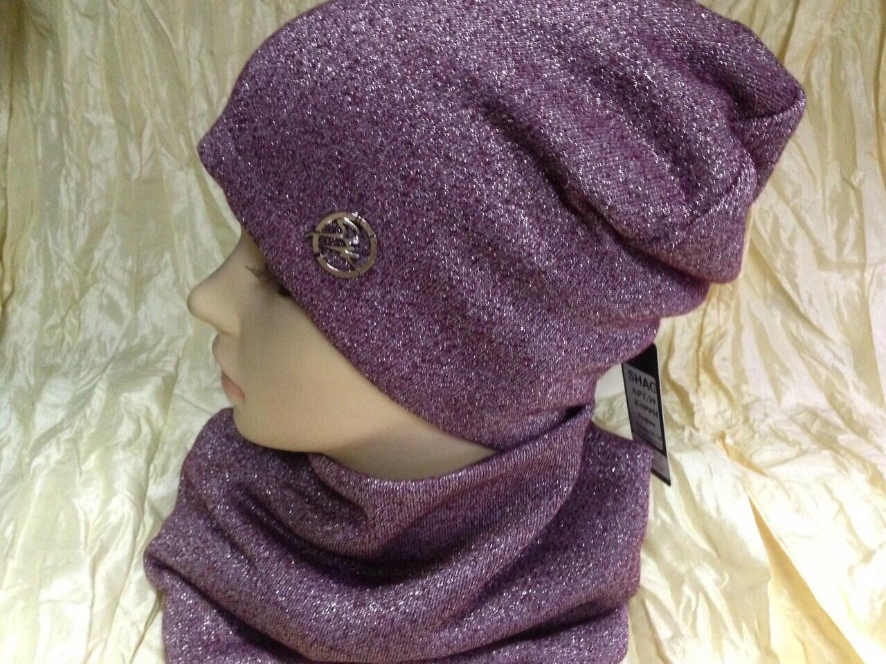 Бордовый демисезонный комплект шапка + бафф на флисе