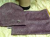 Бордовый демисезонный комплект шапка + бафф на флисе, фото 6