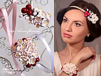 """""""Цвет вишни"""" цветочный браслет + заколка. Комплект украшений с цветами и ягодами., фото 1"""